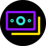 Purple and yellow money logo