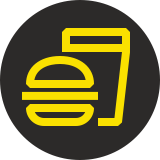 Yellow food and drink logo