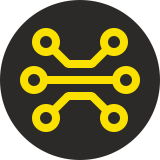 Yellow circuit board logo